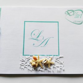 Guestbook  libro firme matrimonio in stile, tema mare estate tiffany