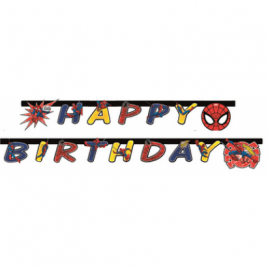 Festone da 2 metri Happy Birthday per feste tema Spiderman