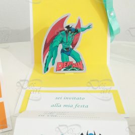 Invito pop up per feste - tema Devilman