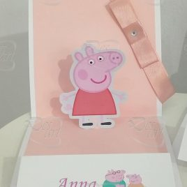 "Invito pop up per feste - tema ""Peppa Pig"""